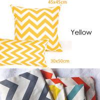 Yellow&White Chevron Cushion Covers Striped Zig Zag/European PillowCase 65x65cm