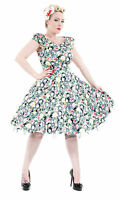 Vintage 40's 50's Style English Rose Garden Swing Jive Prom Tea Dress New 8 - 18