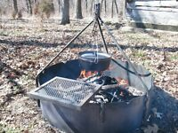 """36"""" Fire Ring with Tripod & Swing Grate"""