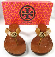 Tory Burch Thora Tan Tumbled Leather Thong Flip Flops 5-10