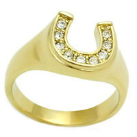Lucky Horse Shoe Seven Stones Ladies 18kt Gold EP Ring