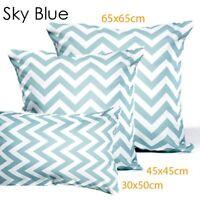 1xSky Blue Chevron Cushion Covers Striped Zig Zag/European Pillowcase 65x65cm-C