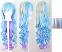 29'' Long Curly w/ Long Bangs Pastel Rainbow Cosplay Wig NEW