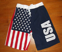 USA flag board shorts American swimming trunks Large