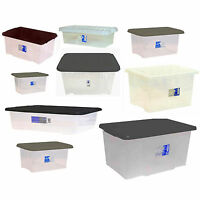 Large Midium Small Size Plastic Clear Storage Box Boxes Set Container Lid Value