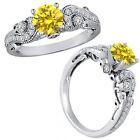 1 Carat Yellow Diamond Engagement Wedding Bridal Fancy Ring 14K White Gold