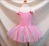 NWT Girl/Toddler/Kids/Childs Tutu Dance Ballet Pink Rainbow Dresses Leotard 2-7T