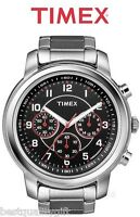 NEW TIMEX SILVER TONE S/STEEL CHRONOGRAPH BLACK DIAL MENS WATCH-T2N166