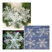12pcs Christmas Ornaments White Snowflake decoration Hanging 11cm Xmas C031