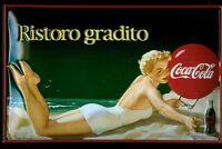 Coca Cola Italian Girl Blechschild Schild 3D geprägt gewölbt Tin Sign 20 x 30 cm