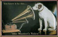 HIS Masters Voice Black Blechschild Schild 3D geprägt Tin Sign 20 x 30 cm
