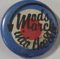 "MODS MARCH INTO THE 80`S MOD TARGET Vtg 1980`s Button Badge/Pin 25mm-1""#mod.105"