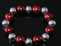 Costume Jewellery Red Pearls & Silver Balls Elastic Bracelet Adjustable B13