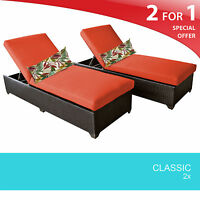 Classic Chaise Set of 2 Outdoor Wicker Patio Furniture 2 for 1