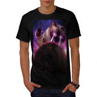 Wellcoda Space Cat Laser Eye Mens T-shirt, Funny Graphic Design Printed Tee