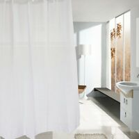 Plain White Fabric Shower Curtain - Weighted Hem