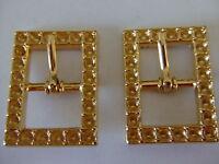 Lot Of 2 Center Bar Brass Belt Buckles By Century Canada