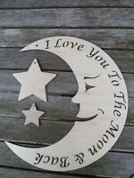 I love you to the Moon and Back gorgeous laser cut wooden decoration