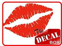 2 x RED KISS LIPS electric guitar case decal sticker