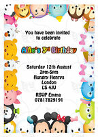 Personalised Tsum Tsum Kids Birthday Party Invites Includes Envelopes