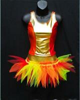GIRLS DANCE STAGE COSTUME PHOENIX FIRE BIRD FREESTYLE SLOW SOLO DISCO OUTFIT