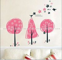 LARGE Reusable PINK FLOWER TREE Mural Art Decal Wall Stickers - TOP Quality