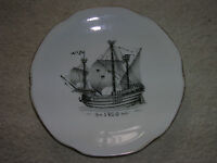 Cream Ware - ALP LIDKOPING SWEDEN PORCELAIN SHIP 1920'sPLATE KUNGSHOLMSSERVISEN