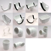 DEEP FLOW Half Round Guttering and Fittings in WHITE 114mm x 70mm x 3.6m