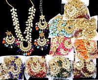 White Cz Kundan Pearl Bollywood 4pcs Necklace Depika Chandbali Earring Tikka Set