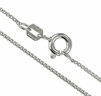 925 Sterling Silver 1.1mm Box Chain Necklace - Made in Italy