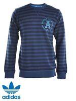 Adidas Originals Mens Stripe Slim Crew Neck Jumper Sweatshirt Sweater