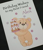 LARGE Handmade Personalised BIRTHDAY CARD - CUTE TEDDY BEAR WITH CAKE