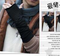 Men First-rate Korean Style Cotton Blends Half-Length Gloves Warm Long Mitten EF