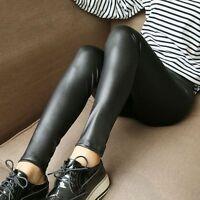 Damen Gefüttert Kunstleder Hose Hohe Taille Leggings Sexy Damen Mode Neu