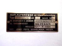 Josef Peitz Typenschild Schild Auflaufbremse ESPE Miststreuer Reform 62/3,7 S26