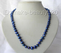 """stunning 20"""" 9mm baroque blue freshwater cultured pearl necklace s808"""