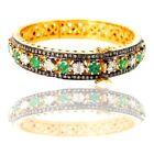 Emerald Diamond Vintage Style Bangle Bracelet 14K Gold Sterling Silver Jewelry