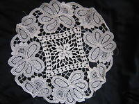 Vintage Doily Hand Crocheted Lace White Floral Cotton  Round Floral Motives