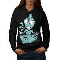 Wellcoda DJ Robot Turntable CD Womens Hoodie, Rave Casual Hooded Sweatshirt