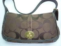 New Coach Signature Flap Brown Bag Hobo Handbag Satchel Shoulder Logo