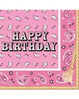 Pink Bandana Cowgirl Happy Birthday Napkins Pack Of 16 One Size