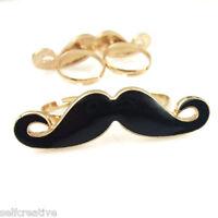 Gold Metal Black Enamel Handlebar Moustache Two Double Finger Ring Adjustable SZ