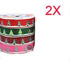 AY28 New W 9 MM Dacron Christmas Tree Gift Packaging Belt Wholesale Lots 2 PCS