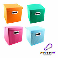 Foldable Solid Color Fabric Storage Bin Toy Box With Cover Cube Drawer +Buckle