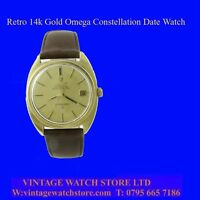 Mint 14k Gold Retro Omega Constellation Date Wrist Watch 1974