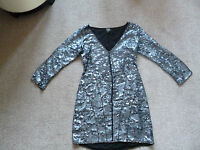KATE MOSS BLUE  SEQUIN FITTED DRESS 12 TOPSHOP