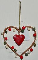 Chic & Shabby Metal Heart Jingle Bells Christmas Xmas Tree Hanging Decoration