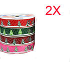 AY25 New W 16 MM Dacron Christmas Tree Gift Packaging Belt Wholesale Lots 2 PCS
