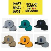 DECKY MENS PLAIN HAT FLAT BILL BASEBALL CAP FITTED CAPS RETRO HATS CASUAL SOLID