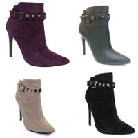 NEW LADIES STUDDED ANKLE BOOT POINTED TOE STILETTO FASHION HEELS PARTY SHOES 3-8